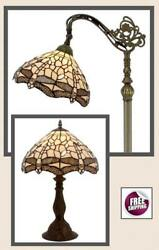Tiffany Style Floor Table Desk Lamp Shade Vintage Victorian Glass Dragonfly New $239.00
