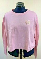 Victoria Secret PINK Women#x27;s Long Sleeve Cropped Tee Chalk Rose Size Large $19.99