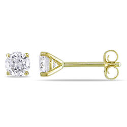 2 mm Round Diamond Tiny Stud Earrings 10k Yellow gold Gift box incl. $39.00