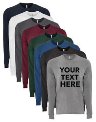 Personalized Custom Text Mens Next Level Sueded Long Sleeve Tee T Shirt 6411 $25.99