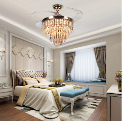 42quot; Modern LED Invisible Fan Ceiling Lamp Remote Control Crystal Chandelier $186.82