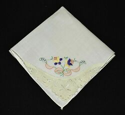 vintage handkerchief HANKY embroider SHABBY HOME CHIC dainty lace corner NICE $8.00