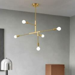 Modern 5 Light Chandeliers Gold Metal Pendant Lamps Lighting Ceiling Fixtures $77.39