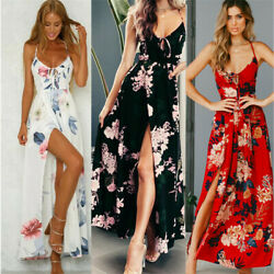 Women#x27;s Summer Boho Floral Long Maxi Evening Cocktail Party Beach Dress Sundress $13.46