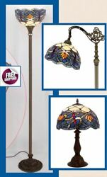Tiffany Style Floor Table Desk Lamp Shade Vintage Victorian Glass Lotus Blue New $254.00