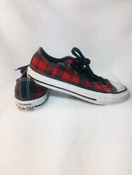 converse all star Boys 12 Red Black Plaid Checkered Low Top Sneakers $12.75