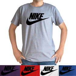 Nike Men#x27;s Short Sleeve Logo Swoosh Printed T Shirt Red White Blue Purple Gray