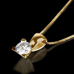 1 12 CARAT REAL DIAMOND SOLITAIRE PENDANT WITH NECKLACE 14K YELLOW GOLD