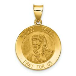 14k Polished and Satin Mother Teresa Medal Pendant Religious Charm Yellow Gold $155.99