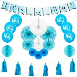 Baby Shower Decorations For Boy Party Supplies Banner Balloons Fans Tassels 24pc $14.95