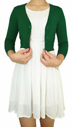Teenage Girl Cropped Cardigan 3 4 Sleeve Fitted V Neck Soft Knit Vintage Style $13.49