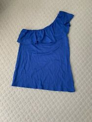 Lilly Pulitzer Blue Periwinkle Ruffle One Shoulder Top Size Medium