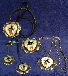Kachina Dancer Silver Turquoise Ensemble Set bolo tie buckle pendant L. LONJOSE