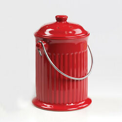 Norpro Red Ceramic Kitchen Compost Keeper Crock with Filter 1 Gallon $29.99