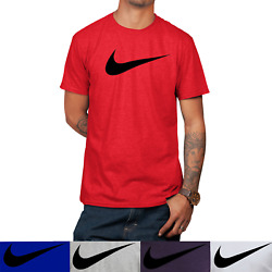 Nike Men#x27;s Short Sleeve Swoosh Logo Printed T Shirt Gray Purple Blue White Red S $23.25