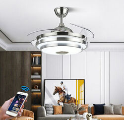 42quot;Bluetooth Invisible Fan LED Lamp Ceiling Light Music Player ChandelierRemote $158.39