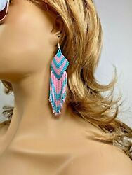 NATIVE STYLE ETHNIC BLUE PINK SEED BEADED HANDMADE CHANDELIER EARRINGS E9 4 $8.99