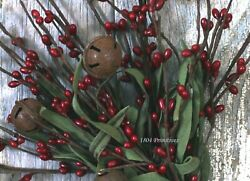 12quot; Antique Red Pip Berry Stem Bunch with Rusty Tin Bells $4.95