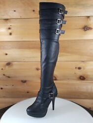 Chloe Thigh High Plus Size Wide Width Shaft Boots Black Leatherette 9 16 $91.95