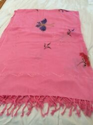 Women's Beach ~Wrap One Size Pink Pareo Cover Up Hand Painted ~Silk Embroidery $8.00