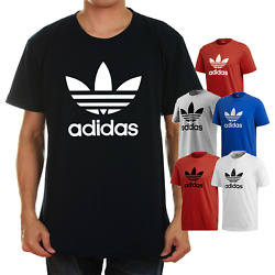 Adidas Men#x27;s Short Sleeve Trefoil Logo Graphic T Shirt Gray Blue Black Red White