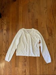 Girls White Button Up Sweater Size 10 12 NWT $14.20
