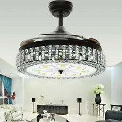 42quot; Retractable Blade Crystal Chandelier Remote Invisible Ceiling Fan LED Light $178.19
