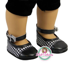 AFW BLACK amp; WHITE DRESS SHOES for 18quot; Dolls American Girl Checker Buckle NEW