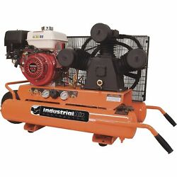 Industrial Air Gas-Powered Wheelbarrow Air Compressor 9 HP Honda Engine 9-Gallon