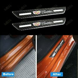 2PCS Carbon Car Rear Door Welcome Plate Sill Scuff Cover Decal Sticker Cadillac $12.99