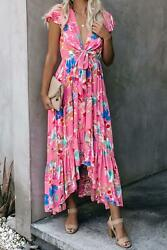 Rose Pink Floral High Low Pocketed Front Tie Flutter Sleeve Maxi Dress LARGE $24.40