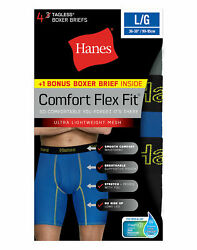 Hanes Mens Boxer Briefs 4-Pack Comfort Flex Fit Breathable Mesh Long Leg FreshIQ $13.99