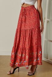 Red amp; Blue Ditsy Floral Print Boho Ruffle Tiered Elastic Maxi Skirt LARGE 12 14 $17.00