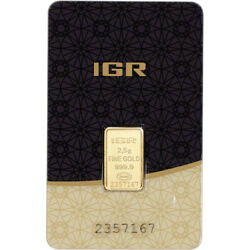 2.5 gram IGR Gold Bar - Istanbul Gold Refinery - 999.9 Fine in Sealed Assay $175.12