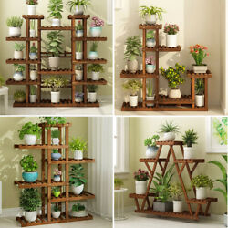 Wooden Multi Tier Plant Stand Flower Rack Shelf Bonsai Holder Home Garden Corner $59.96