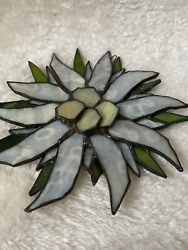 Stained Glass Hanging Art Leaded White Daisy Flower 8quot; in diameter $38.68