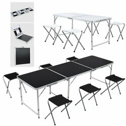 46FT Versatile Folding Camping Table Set Height Adjustable Picnic Party $50.99