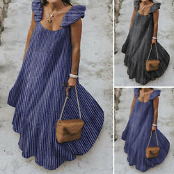 Women Strappy Beach Sundress Oversized Long Dress Striped Party Cocktail Dresses $20.69