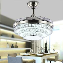 42quot;Modern Remote Invisible Blades LED Chandelier Crystal Retractable Ceiling Fan $172.79
