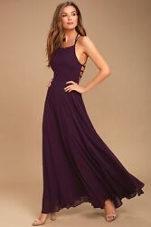 Lulus Strappy To Be Here X Small XS Purple Long Prom Dress Formal Bridesmaid NWT