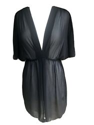Black Sheer Beach Swimsuit Cover Up Tunic Dress BISOU BISOU Michele Bohbot M $27.00