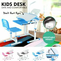 3 Colors Height Adjustable Full Wood Kids Desk and Chair Furniture Storage Set $125.99