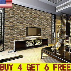 3D Wall Paper Brick Stone Rustic Effect Self adhesive Wall Sticker Home Decor US $6.38