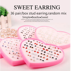 36 Pairs Set Mixed Flower Ear Stud Earrings For Kids Girls Women Flower Jewelry $3.99