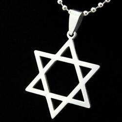 STAR OF DAVID NECKLACE Stainless Steel Pendant Chain Jewish Hebrew Zion Symbol $6.95
