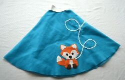 Cute Girls Poodle Skirt with Fox Applique Girls 10 12 Costume 50s Halloween $15.99