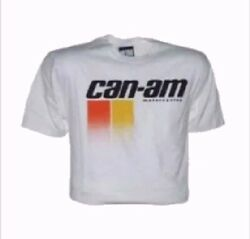 Can Am Logo White Short Sleeve T Shirt AHRMA Metro Racing NEW VINTAGE $33.95