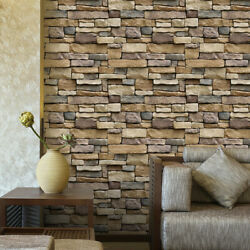 3D Wall Paper Brick Stone Rustic Effect Self adhesive Wall Sticker Home Decor US $5.88