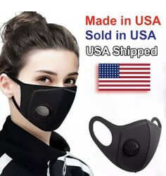 Made In USA! NEW Reusable Washable Adults Face Mask With Breathing Valve Filter