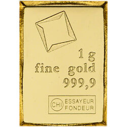 1 gram Gold Bar Valcambi Suisse from Gold CombiBar 999.9 Fine $74.17